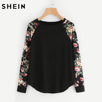 SHEIN Floral Raglan Sleeve Curved Hem Womens Tee Shirts Autumn Womens T shirts Casual Ladies Black Long Sleeve T shirt