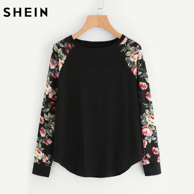 SHEIN Floral Raglan Sleeve Curved Hem Womens Tee Shirts Autumn Womens T Shirts Casual Ladies Black Long Sleeve T Shirt