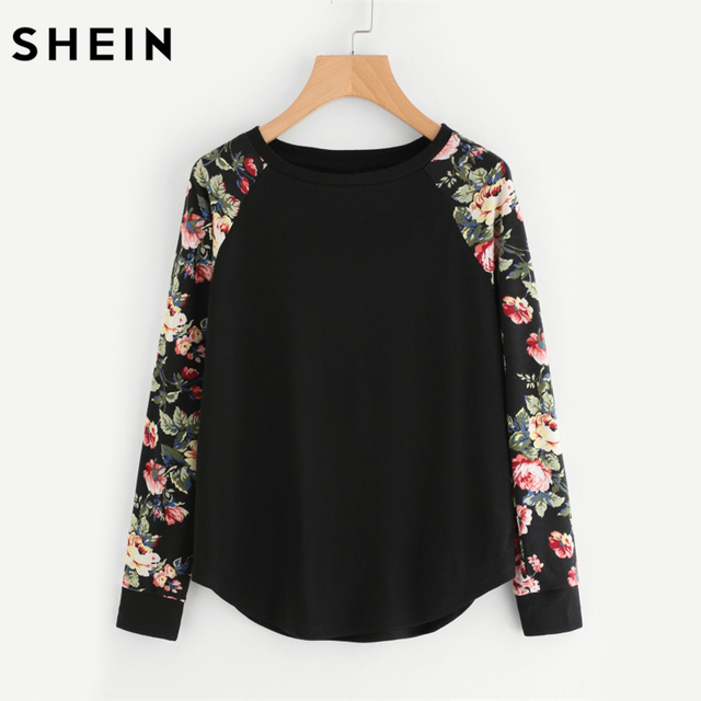 SHEIN Floral Raglan Sleeve Curved Hem Womens Tee Shirts Autumn Womens T  shirts Casual Ladies Black 24bbdc17b