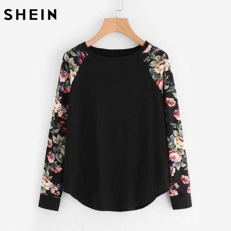 SHEIN Floreale Del Manicotto di Raglan Curved Hem Womens Tee Shirts Autunno Delle Donne magliette Casual Signore Nero T shirt A Manica Lunga