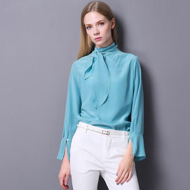 afc93b3098 100% Mulheres Blusa de Seda Tecido Leve Design Simples Sólidos Bow Neck  Mangas Compridas Topos