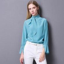 8993085e455 100% шелковая блузка Для женщин Легкий Ткань простой Дизайн твердые лук Средства  ухода за кожей шеи одежда с длинным рукавом офи.