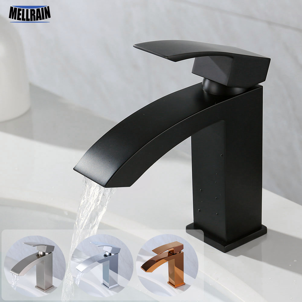 Matt Black Single Handle Basin Faucet 100% Solid Brass Bathroom Deck Mounted Water Mixer Chrome Rose Brushed Nickel Quality Tap цена