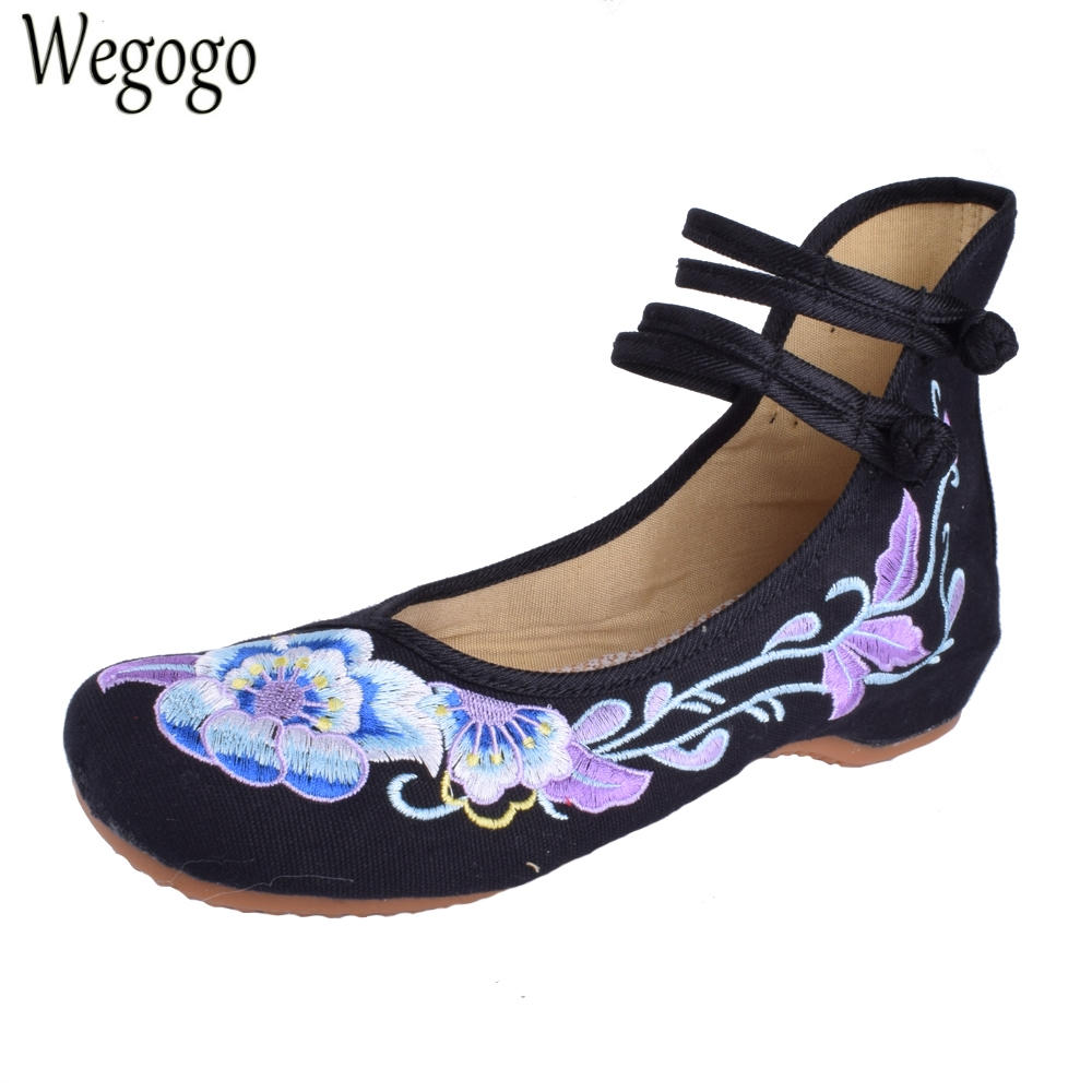 Wegogo Women Flats Shoes Chinese Dance Old Beijing Cloth Shoes Canvas Ballet Shoes Woman Casual Soft Flats women flats old beijing floral peacock embroidery chinese national canvas soft dance ballet shoes for woman zapatos de mujer