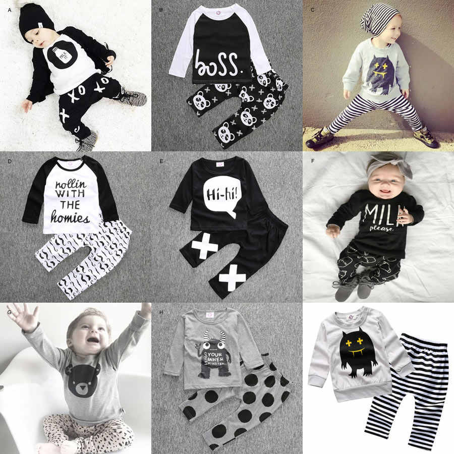 6ada36fa8 2016 Halloween 2PC Baby Boy Girl Set Clothing New Born Pattern Shirt  Top+Trouser Two