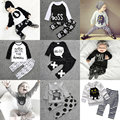 2016 Halloween 2PC Baby Boy Girl Set Clothing New Born Pattern Shirt Top+Trouser Two-piece Suit 1st Birthday Outfits Tracksuit