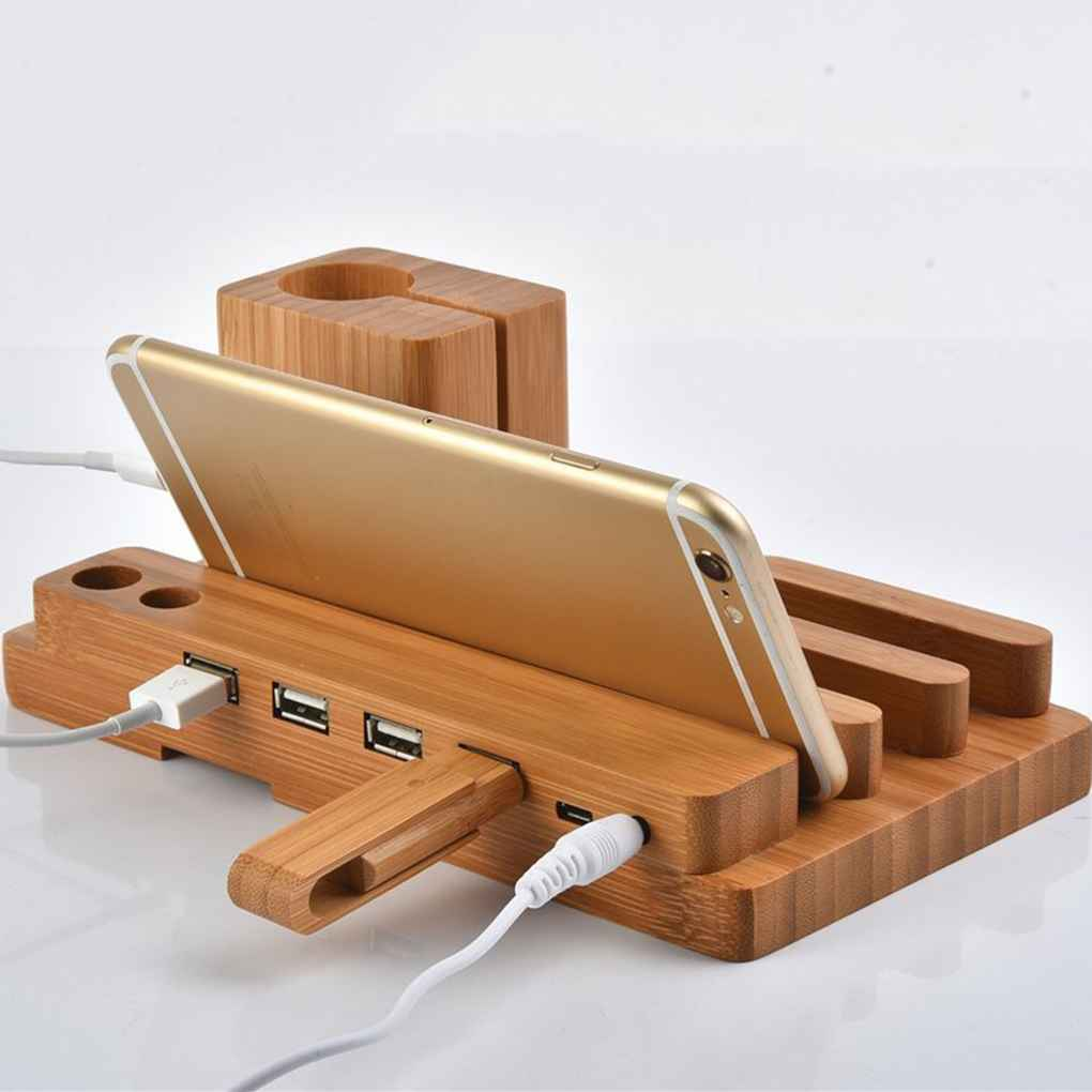 Universal Bamboo Charging Station USB Charger Stand Holder for Apple Watch 38/42mm Pen Phones Organizer Cradle Bracket 3