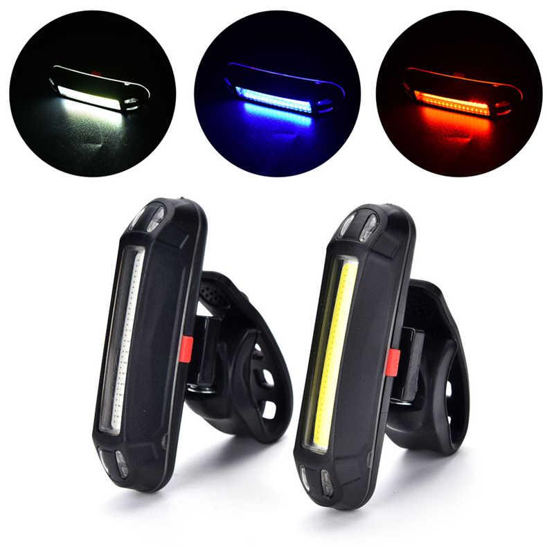 Vélo lumière LED rechargeable étanche USB vélo vélo queue lumière feu arrière vtt avertissement de sécurité vélo siège arrière lampe