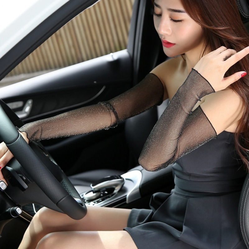 Fashion Summer Sexy Lace Long Gloves Women Sun Protection Wrist Gloves Lady's Anti-uv Slip-resistant Driving Fingerless Gloves