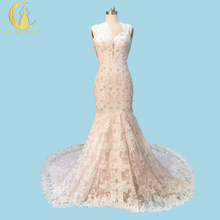 Rhine Real Sample Image Sexy Spaghetti Straps Lace Beads Pearls Mermaid Chapel Train Luxurious Bridal Wedding Gown