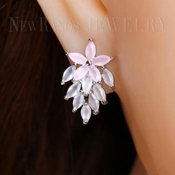 Newranos pendientes de hojas de cristal Natural blanco lechoso para mujer pendientes de perforación para mujer moda Jelwery EGY001