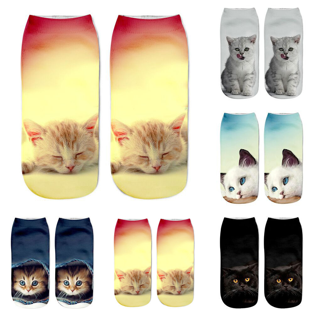 Unisex Women Harajuku Socks Short Sock 3D Cat Printed Beautiful Socks Casual Lovely Girl Meias Popular Comfortable Anklet Soxs B