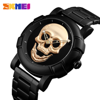 SKMEI 2018 Skull Quartz Watch Men Creativity Watches Stainless Steel Male Clock Water Resistant Wristwatch Relogio