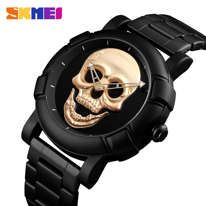 2020 SKMEI Skull Quartz Men's Watch Men Creativity Watches Stainless Steel 30M Waterproof Male Wristwatch Relogio Masculino 9178