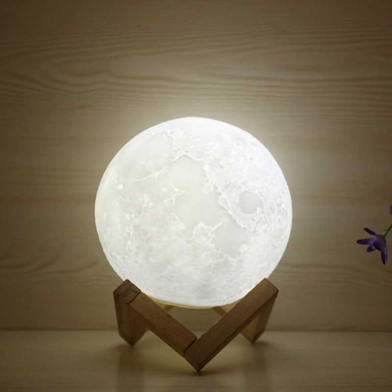 Moon Lamp Moon Light Night Light for Kids Gift USB Charging and Touch Control Brightness 3D Printed Warm and White Lunar Lamp