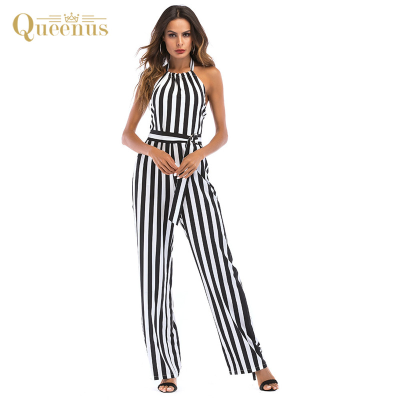 Plus Size Women Long Rompers Jumpsuits Sexy Fashion Backless Halter Straight Jumpsuits 2018 New Striped Print Beach Jumpsuits