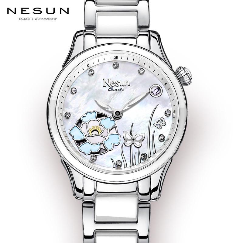 Nesun ผู้หญิงนาฬิกาแบรนด์หรูจากประเทศสวิสเซอร์แลนด์นาฬิกาควอตซ์ Sapphire Relogio Feminino นาฬิกานาฬิกาข้อมือเพชร N9075 6-ใน นาฬิกาข้อมือสตรี จาก นาฬิกาข้อมือ บน   1