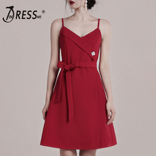 INDRESSME 2019 Womens Bandage Dress Solid Red  Spaghetti Strap Deep V Backless Fashion Bodycon A Line With Belt Vestidos Party