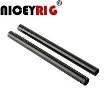 NICEYRIG (Pacote de 2) Comprimento 20cm (8 polegada) haste de alumínio Preto com M12 Rosca Fêmea 15mm para DSLR Camera Foto Fotografia de Estúdio