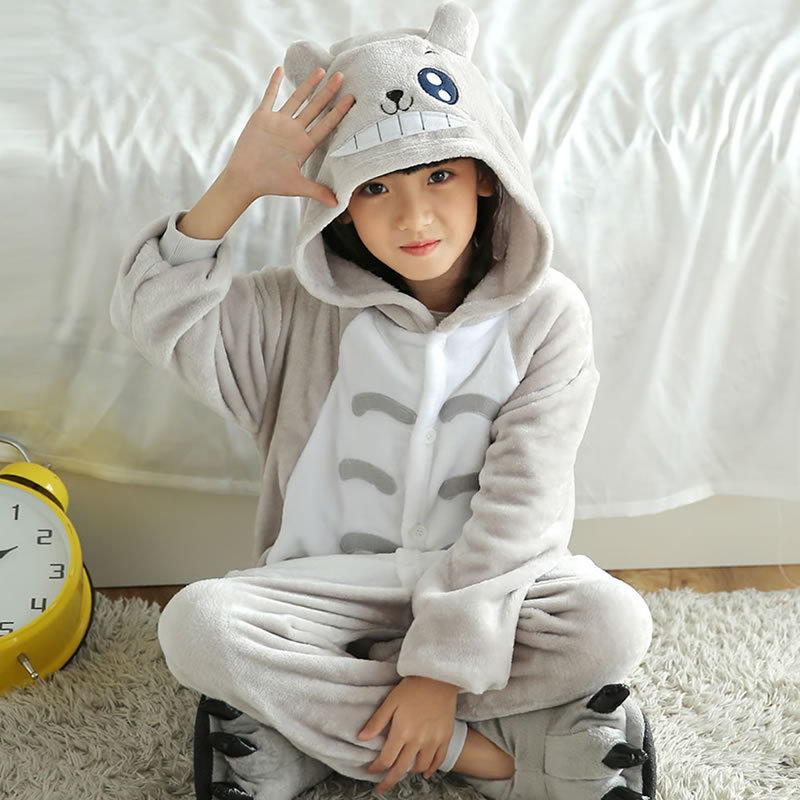 Totoro Children s Autumn Winter Hooded Flannel Pajamas Cartoon Animal Onesies Sleepwear Kids Clothing Cosplay