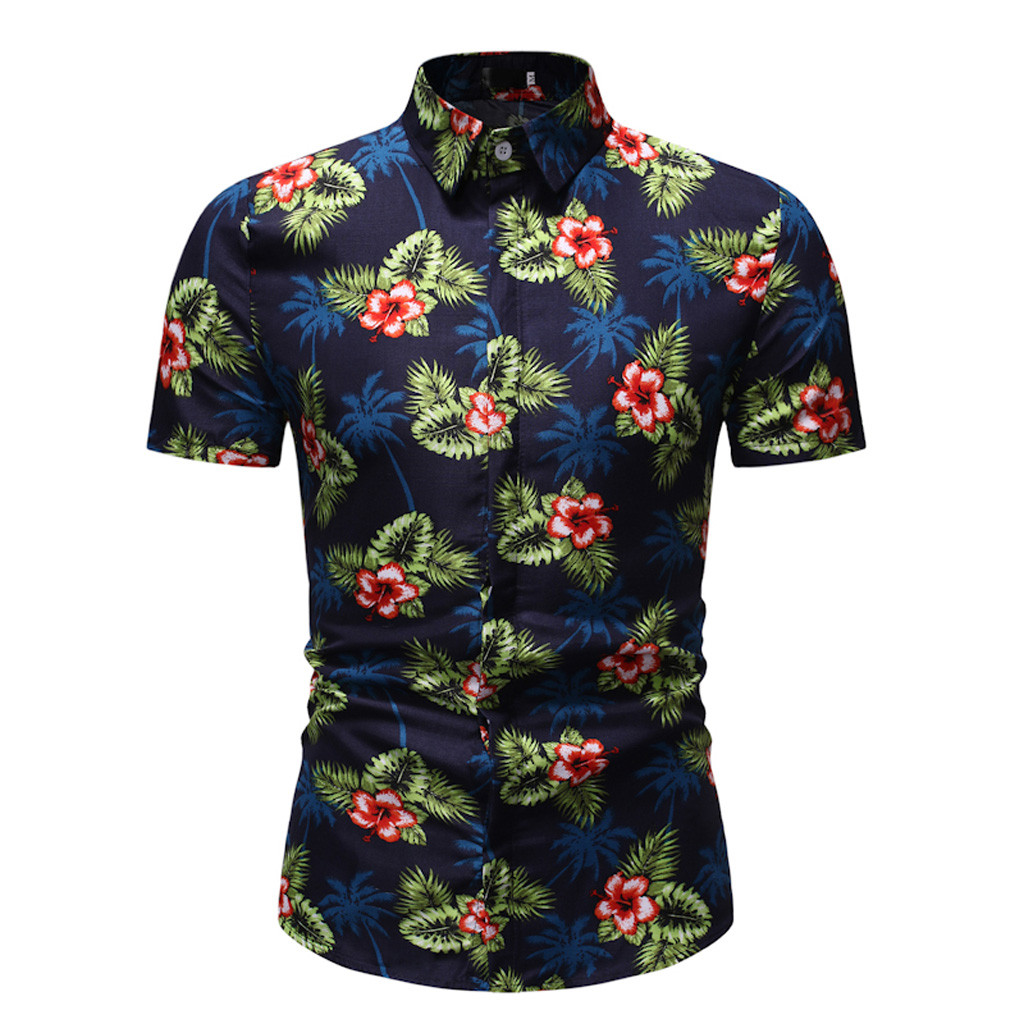 Summer Men's Shirt Casual Hawaiian Short Sleeve Shirt Button Hawaii Print Turn Down Collar Beach Top Blouse Camisa Masculina