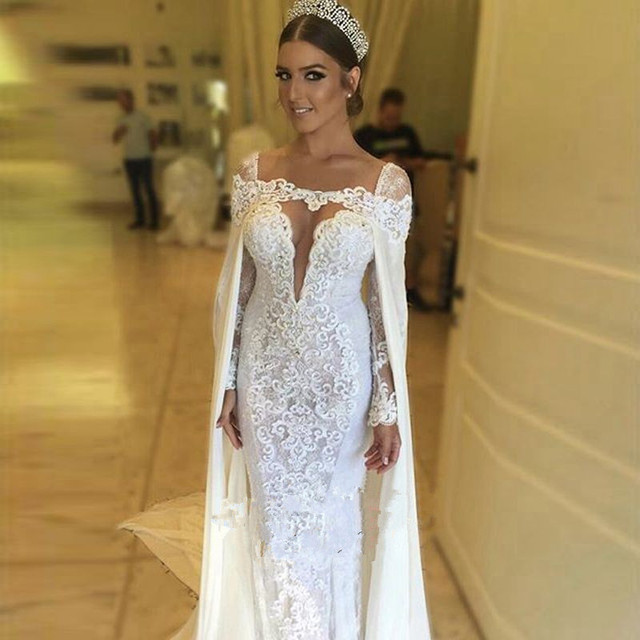 Illusion Plunging V Neck Long Sleeves Lace Sheath Wedding Dress with ...