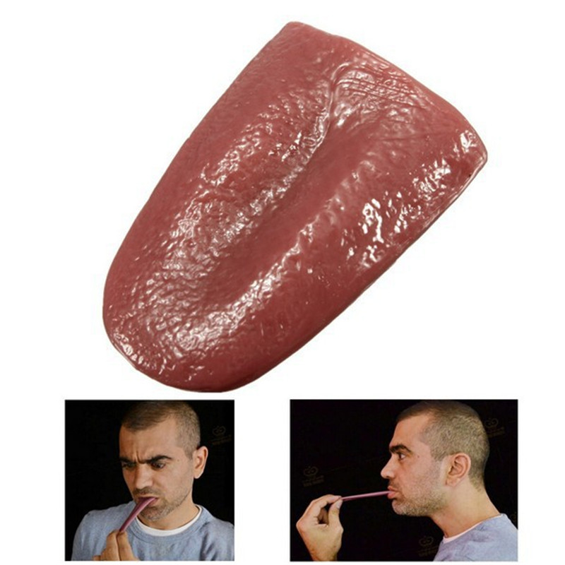 Realistic Fake Horrible Tongue Halloween Joke Prank Magic Trick False Tongue Party Prank Toys Costume Masquerade Gift