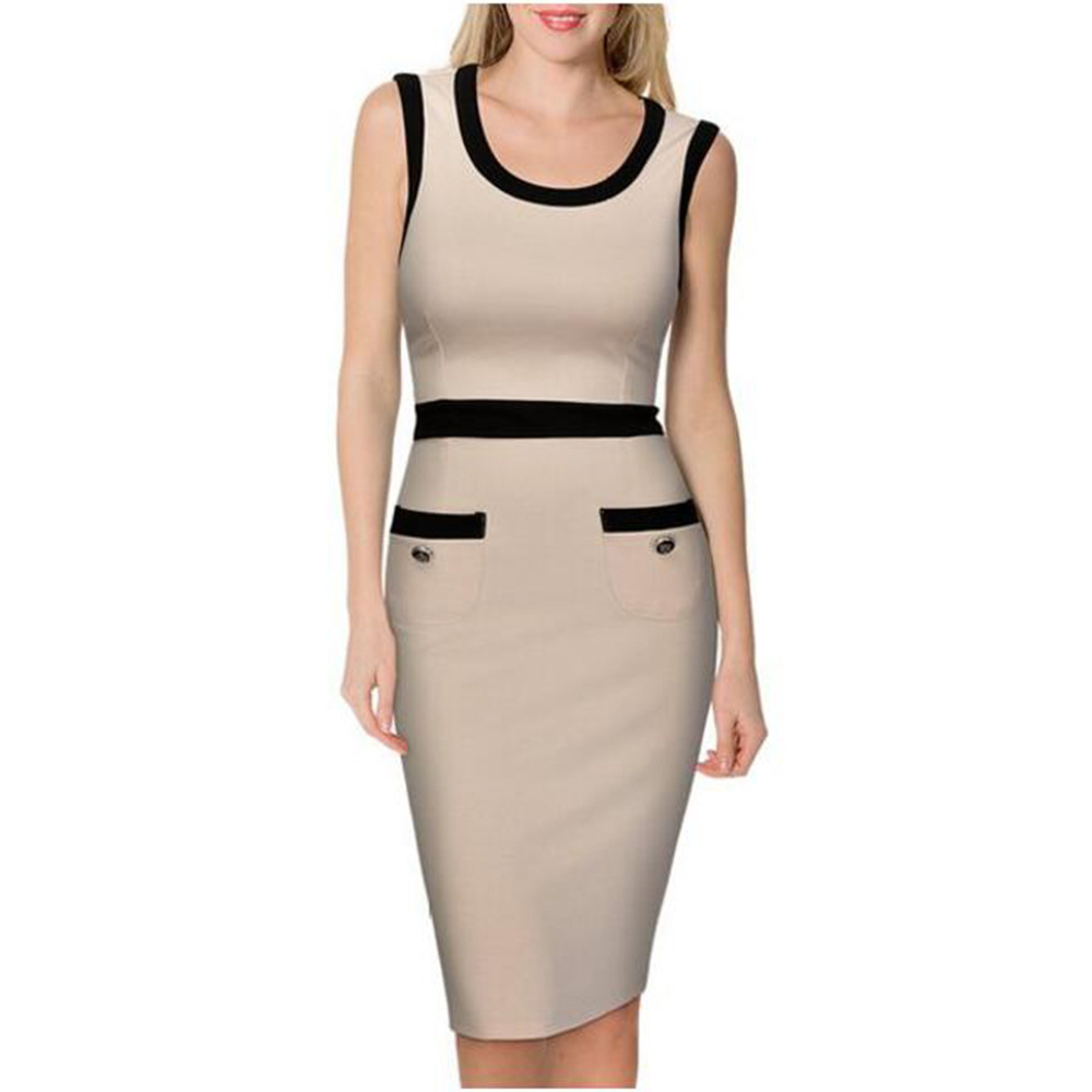 FD3495 Lady Workwear Midi Pencil Dress Vestidos Robe O-neck Sleeveless Color Block Patchwork Pockets Career Knee Length Dresses