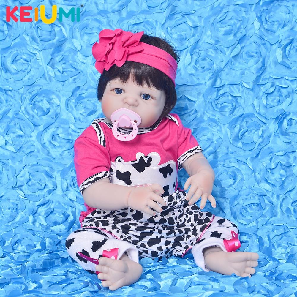 2018 Newborn Dolls Full Silicone Vinyl Body Baby Reborn 23 inch Realistic Babies Girl Toys Doll