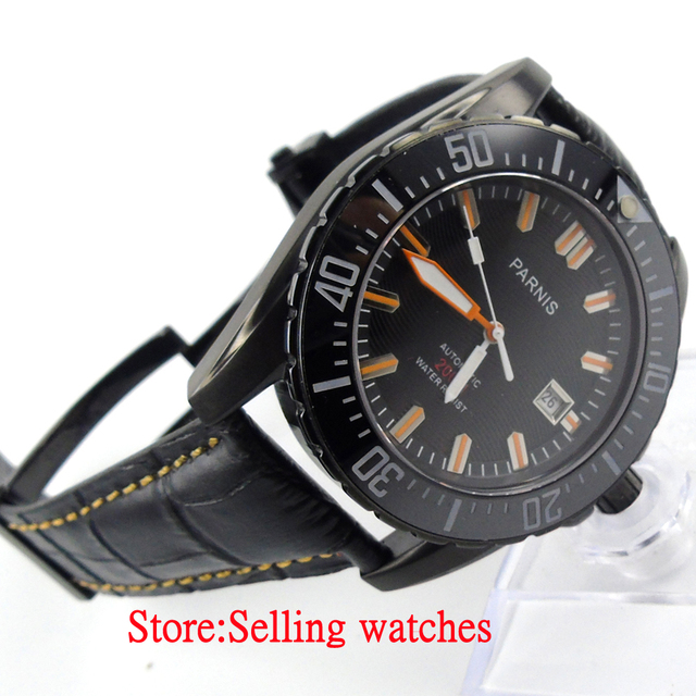 parnis watch 43mm black dial sapphire glass ceramic bezel pvd diver