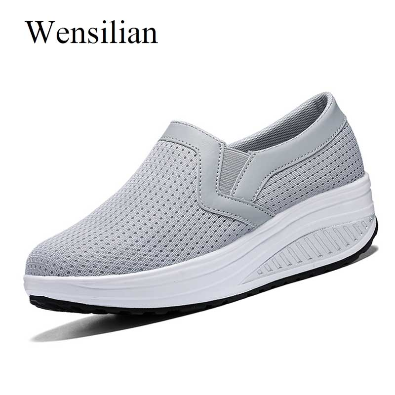 Platform Shoes Air Mesh Vulcanize Sneakers Women Casual Shoes Breathable Basket Femme Slip On Trainers Women Tenis Feminino women shoes super light women sneakers air mesh tenis feminino women couple shoes vulcanize breathable trainers white sneakers