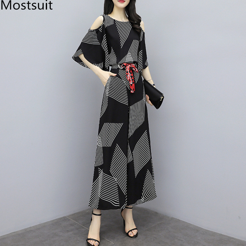 2019 Summer Black Printed Two Piece Sets Outfits Women Plus Size Shoulder Open Tops And Wide Leg Pants Suits Elegant Womens Sets