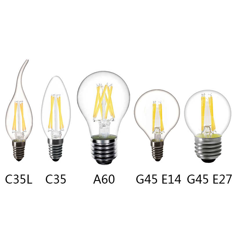 220V E14 LED Bulb 220V E27 LED Filament Bulb E27 LED Lamp Replace 25w 40w 50w Incandescent E27 A60 bombilla Edison Lamp