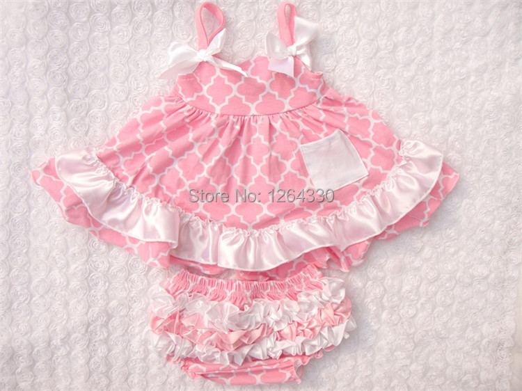 Free shipping ruffle bloomer set baby swing top sets kids outfit set baby fashion rompers KP-SW037