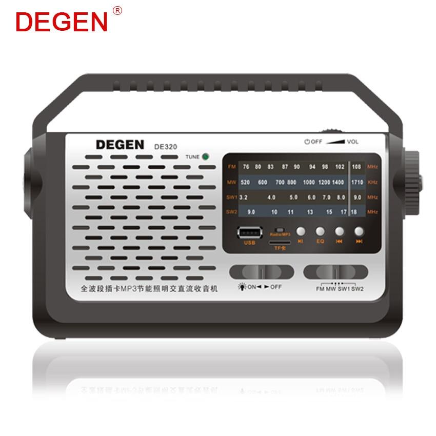 Degen De320 2in1 Fm/mw/sw Radio Tragbare Mp3-player Multiband Kurzwelligen Volle-band Radio Mp3-player Usb Tf-karte Mit Led GüNstige VerkäUfe Unterhaltungselektronik