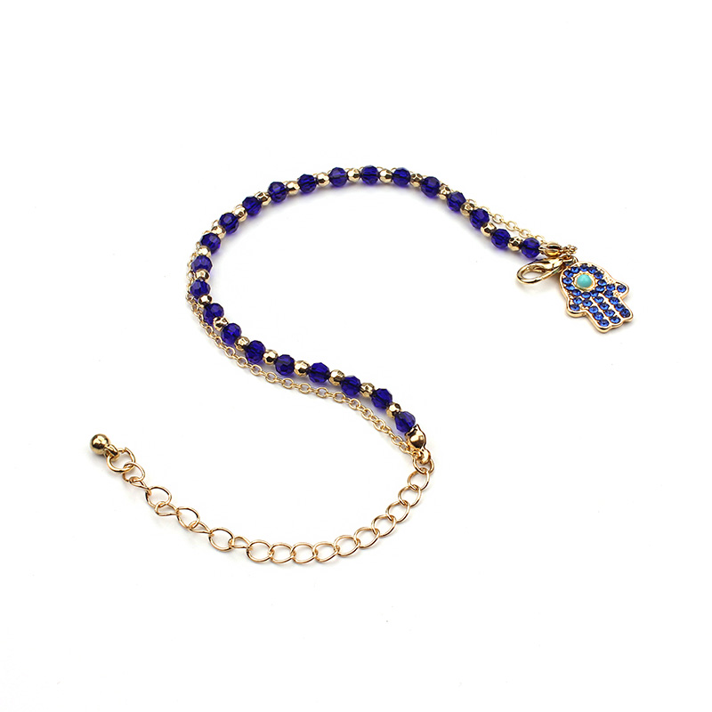 New Arrival Fashion Style Alloy Metal Gold Chain Blue Faceted Acrylic Stone Bead Bracelet With Hamsa Hand Pendant For Women