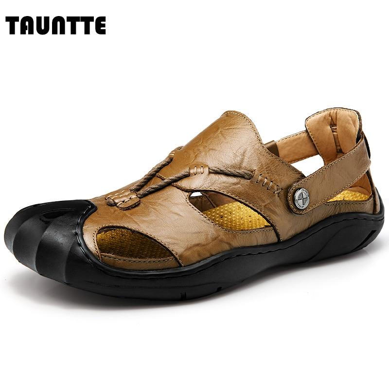 Tauntte 2017 New Summer Men Sandals Genuine Leather Breathable Anti-ordor Beach Shoes summer sandals male toe slip beach shoes breathable leather sandals korean 2016 new men slippers