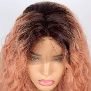 Image 2 - Marquesha Curly Ombre Candy Pink Synthetic Lace Front Wig Heat Resistant Fiber Replacement Pink Curly Bob Cut Wigs For Women