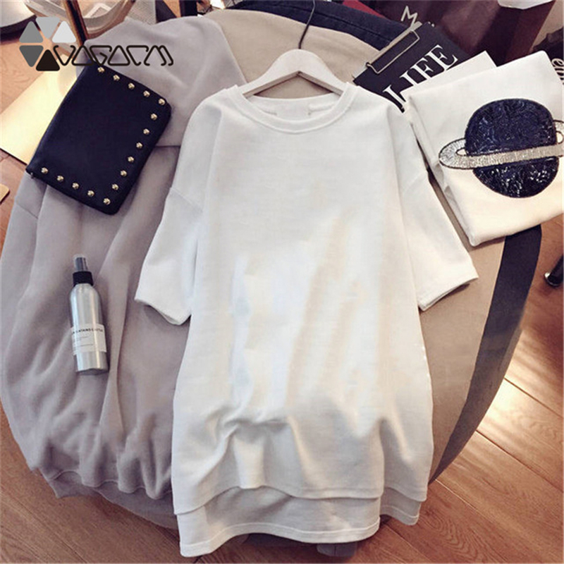 2019 Plus Size M 4XL Dress Women Letter Print Fashion Digital Print Short Sleeve Black White Casual Mini Loose Summer Dresses in Dresses from Women 39 s Clothing
