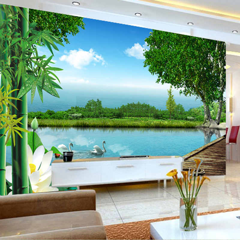 Free Shipping Natural Scenery Mural Tv Lobby Living Room Sofa Bedroom Hotel Restaurant Decoration Green Bamboo Wallpaper Mural