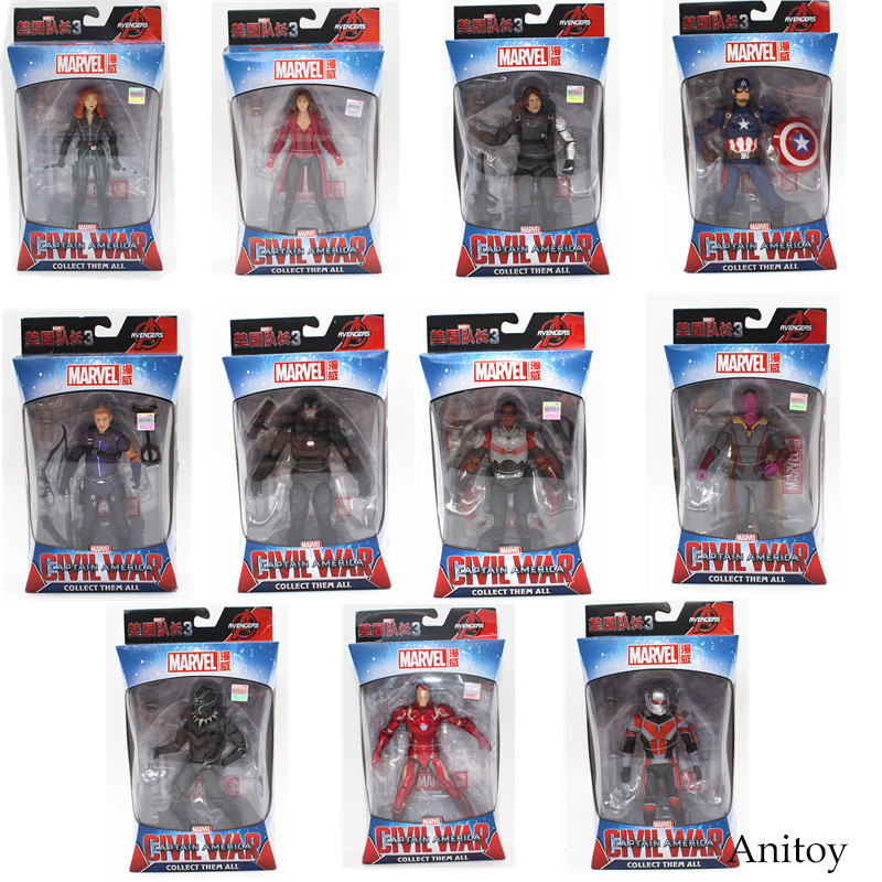 Marvel Avengers Iron Man Black Panther Hawkeye Captain America Black Widow PVC Action Figure Collectible Model Toys 17cm KT3351 captain american 2 winter soldier minifigures marvel thor black widow brick action hawkeye iron man minifigures