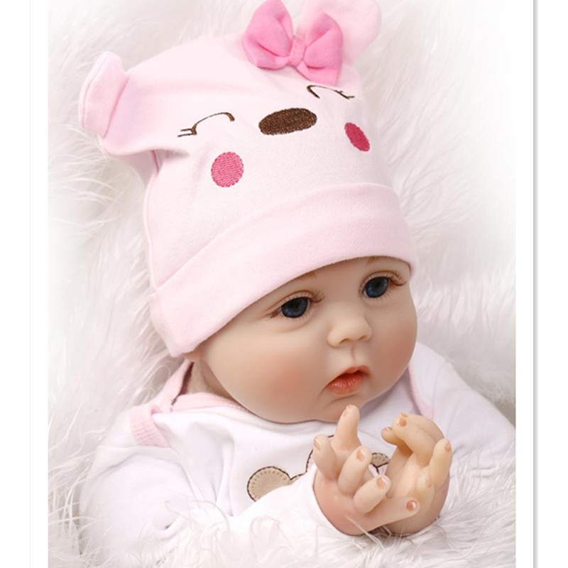 50cm Real Reborn Babies Silicone Reborn Baby Dolls Toys for Girls Children's Gift,Silicone Lifelike Baby Doll with Clothes Hat short curl hair lifelike reborn toddler dolls with 20inch baby doll clothes hot welcome lifelike baby dolls for children as gift