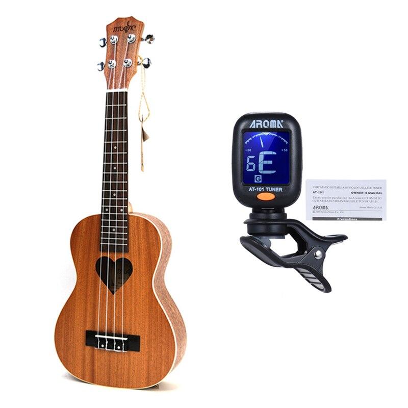 21 pouces Ukelele Soprano petite guitare 4 cordes Hawaii électrique ukulélé guitare acoustique aimant coeur motif Cavaquinho gitar