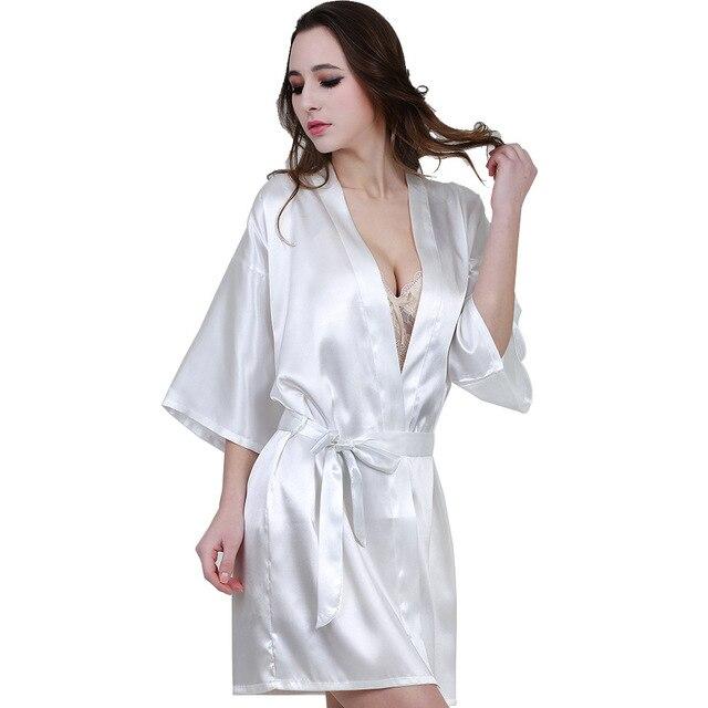 6557e5f33a162 New Arrival White Sexy Women Robe Silk Kimono Bathrobe Bridesmaid Robes  Home Wear Ladies Dressing Gowns Sleepwear Vestido S-XXL