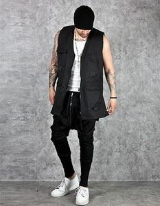 Image 4 - Calças harém masculinas, calças hip hop estilo baggy, cruzadas, tendência, preta, fita, streetwear, casual, para corrida