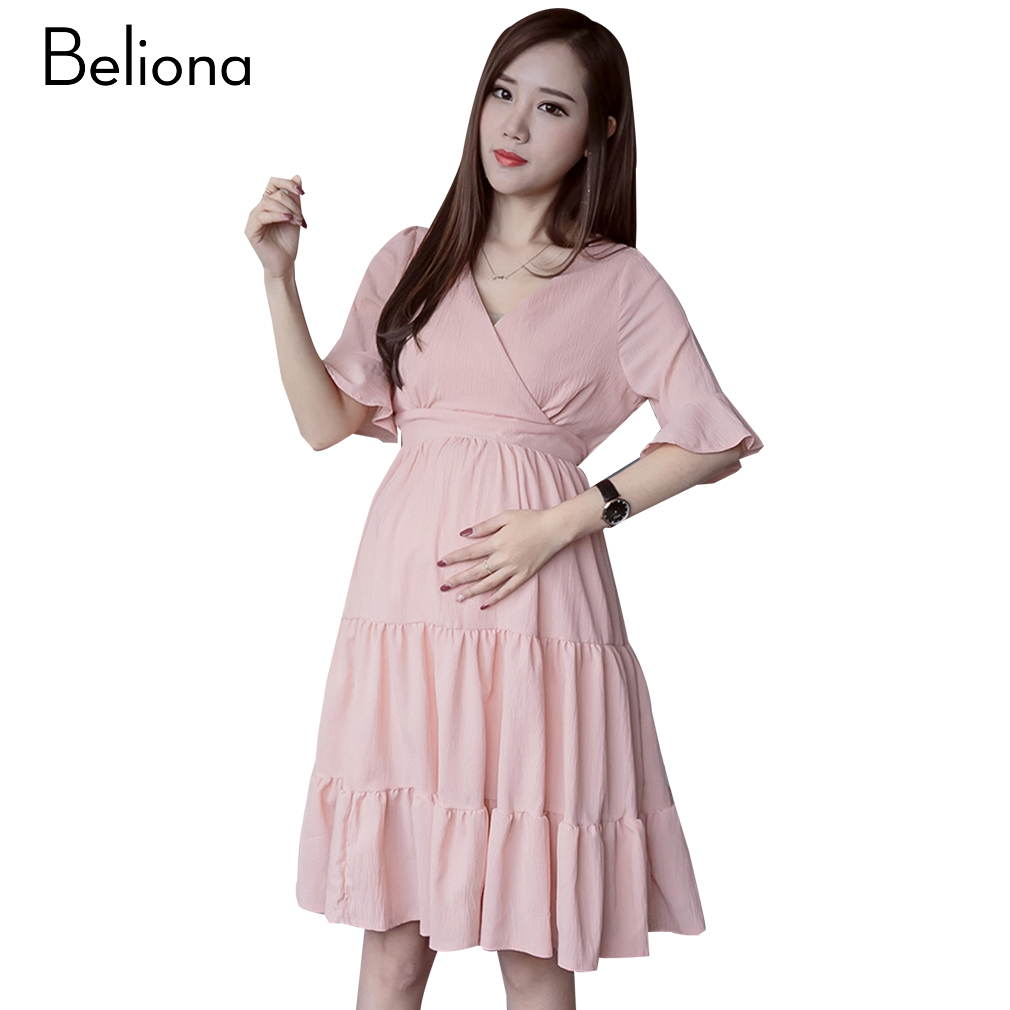 Online get cheap pleated maternity dress aliexpress alibaba pink elegant pleated maternity dress v neck pregnancy clothes for pregnant women 2017 summer short ombrellifo Choice Image