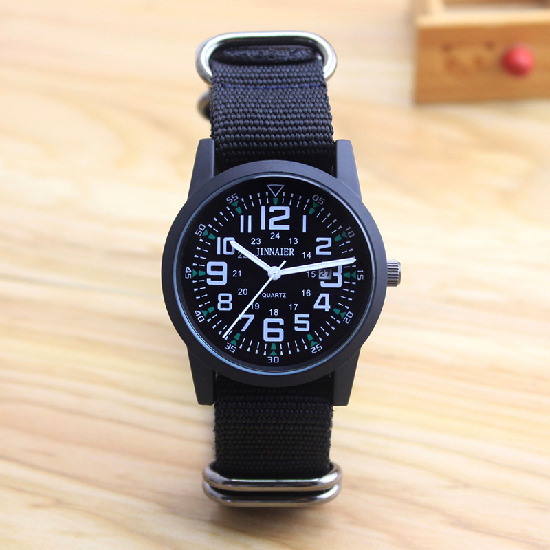 2018 Jinnaier Couples Lovers Women Men Quartz Sports Watches Students Stripe Canvas Electronic Waterproof Wristwatches Clock