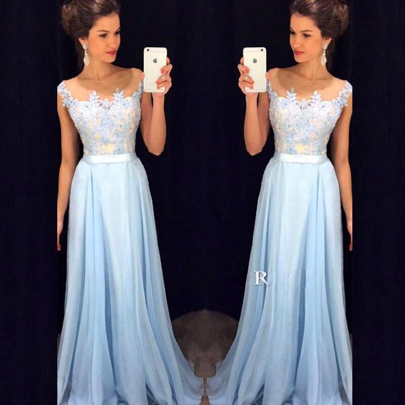 Long Party Dresses For Wedding Scalloped Neckline Floor Length Chiffon Bridesmaid Dresses Blue Vestido De Madrinha Longo