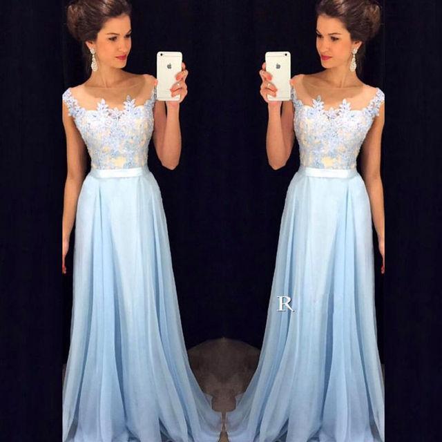 ca43899a6 Vestidos largos De fiesta para boda escote festoneado largo hasta el suelo  vestidos De dama De