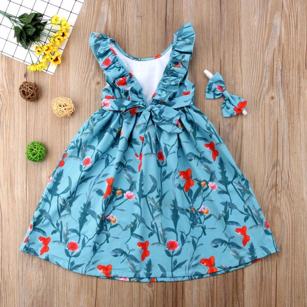 Vogue Kids Girls Clothes Bez rękawów Ruched Bow Blue Dress Floral - Ubrania dziecięce - Zdjęcie 2